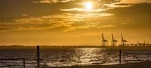 Golden Sunset, Williamstown Ship Yards In Victoria, Australia