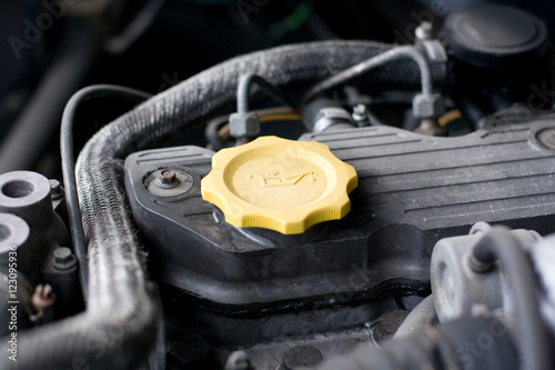 Photo  Engine oil cap from a four wheel drive off-road