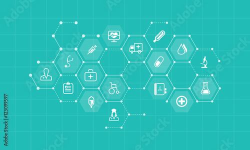 vector  medical and health icons and business network background  concept Wallpaper Mural