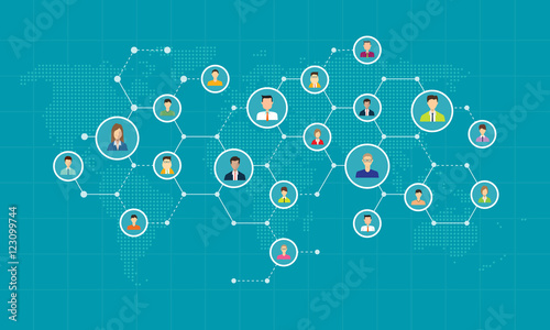 Obraz social network connection for online business  background concept  - fototapety do salonu