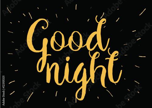 Plakat Dobranoc napis. Kartkę z życzeniami z kaligrafii. Ręcznie rysowane projekt. Czarny i biały.