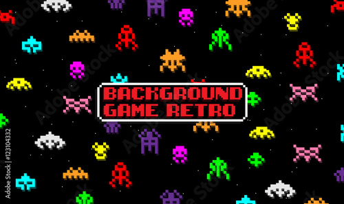 Vászonkép BACKGROUND GAME WITH SPACE ALIENS IN RETRO STYLE
