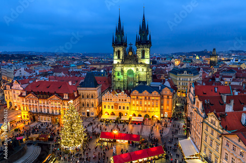 Staande foto Praag Old Town Square in Prague at Christmas time.