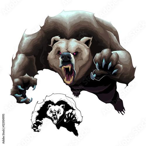 Staande foto Kinderkamer Angry brown bear