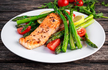 Fried Salmon With Asparagus, T...