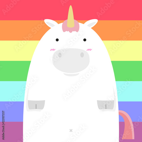 Foto-Schmutzfangmatte - cute fat big unicorn horse on rainbow background (von paggiest)
