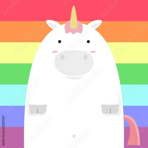 Foto Rollo Basic - cute fat big unicorn horse on rainbow background (von paggiest)