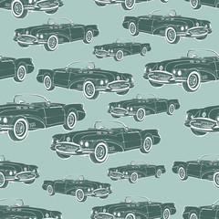 Vintage car cabriolet seamless pattern, retro cartoon background, monochrome. For the design of wallpaper, wrapper, fabric. Vector illustration
