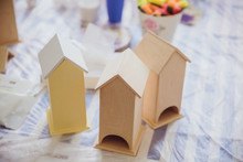 Wooden Nestling Boxes Stand On...