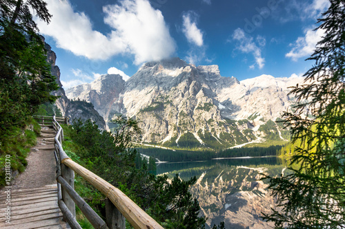 Foto auf Gartenposter Reflexion Lake Braies known as Lago di Braies, a trekking route around. Surrounded by the mountains reflected in the water.1st point of the trekking route Alta Via 1, The Dolomites, Alps, South Tyrol, Italy.