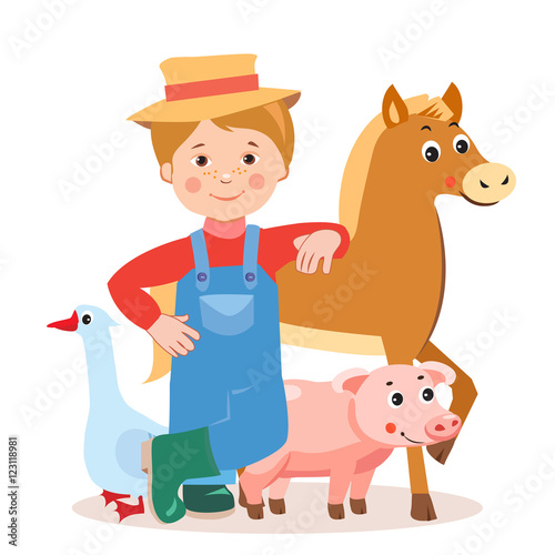 Young Farmer With Farm Animals: Horse, Pig, Goose  Cartoon
