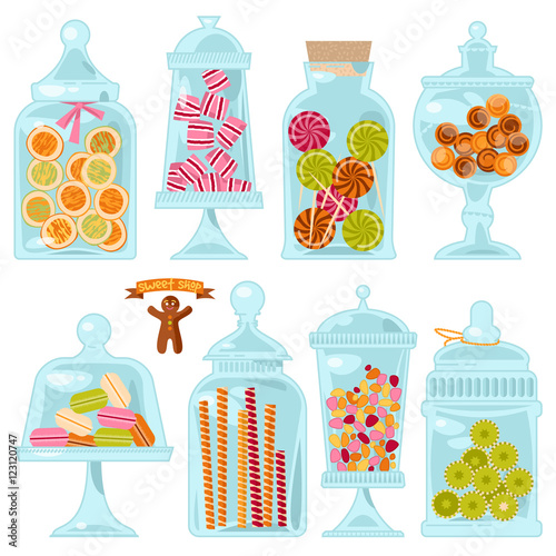 Fotografía  Sweet shop. Glass jars of various forms with different candies.