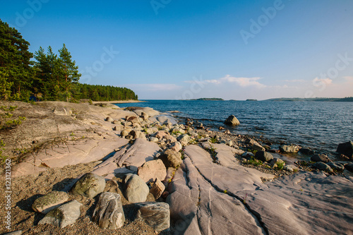 Valokuva  Beautiful Sunny day in Karelia, Ladoga lake, Russia