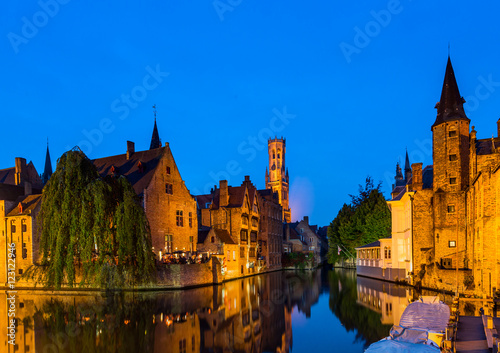 Deurstickers Brugge Image of Rozenhoedkaai at dusk in Bruges,Belgium