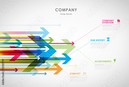 Fotografía  Company infographic overview design template with arrows and ico