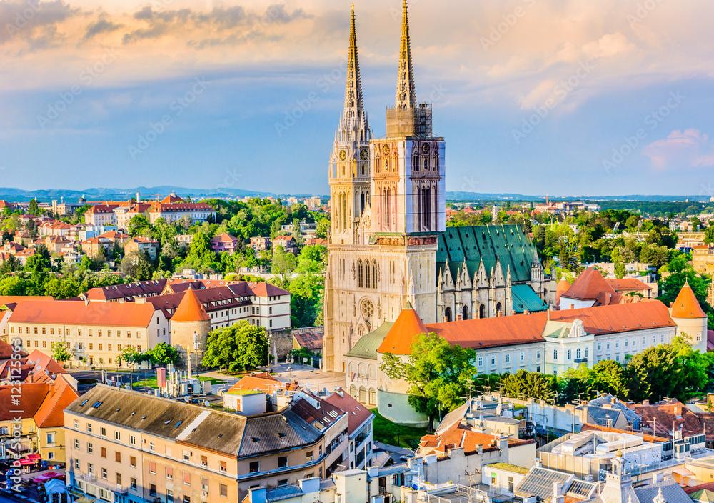 Fototapety, obrazy: Zagreb cathedral aerial view. / Aerial view on cathedral in Zagreb city, capital town of Croatia, european landmarks.