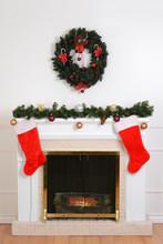 Christmas Fireplace With Santa Socks