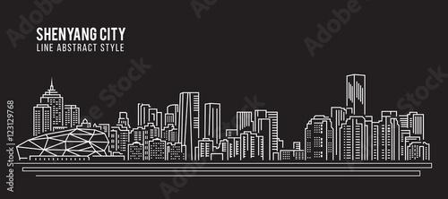 Cityscape Building Line art Vector Illustration design - Shenyang city Canvas-taulu