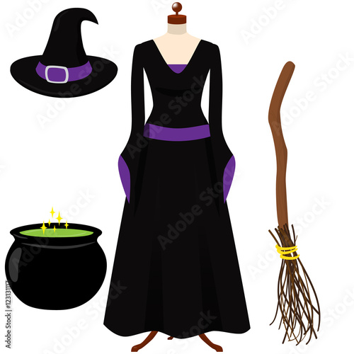 Halloween Witch Costume Black And Purple Gothic Dress Black Hat