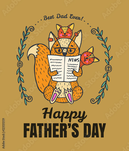 Staande foto Retro sign Father's Day card with fox character family.