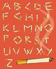 Font made of cigarettes. Comic cartoon cigarette alphabet. Smoking letters. Vector 10 EPS