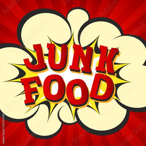Junk food retro style image  Comic cartoon explosion with hypno rays