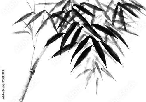 Background with bamboo stems. Ink sketch