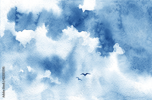 niebieska-chmura-akwarela-ptaki-i-niebo-wiosna-lato-tlo