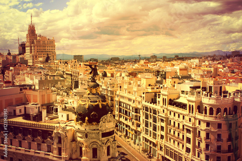 Spain. Top view of the capital of Spain - Madrid at sunset.