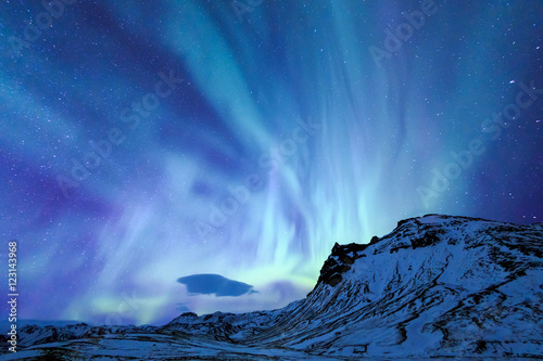 Canvas Prints Northern lights The Northern Light aurora over at snow Mountain