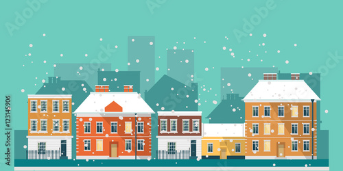 Wall Murals Green coral Winter town landscape