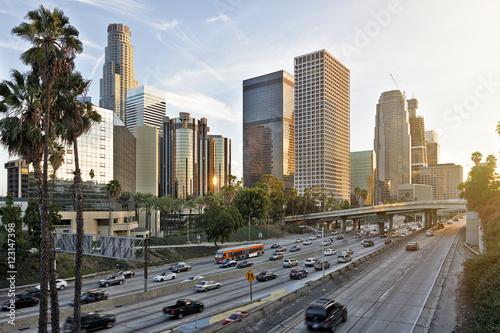 Plakat Los Angeles linia horyzontu przy zmierzchem