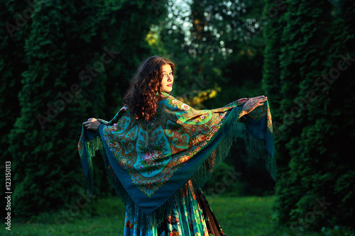 Fototapety, obrazy: beautiful  Gypsy girl with a scarf in a forest