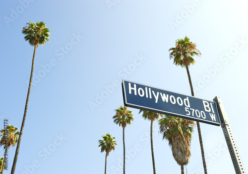 Fotografiet  Hollywood Boulevard sign with palm trees