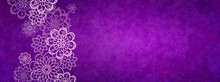 Purple Background With Flower Design Elements, Abstract Floral Border In Pink And Purple