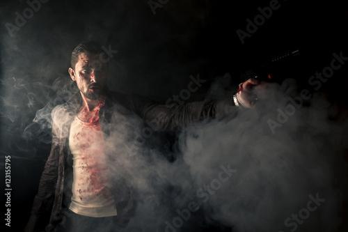 Fotografie, Tablou  bloody gangster in action