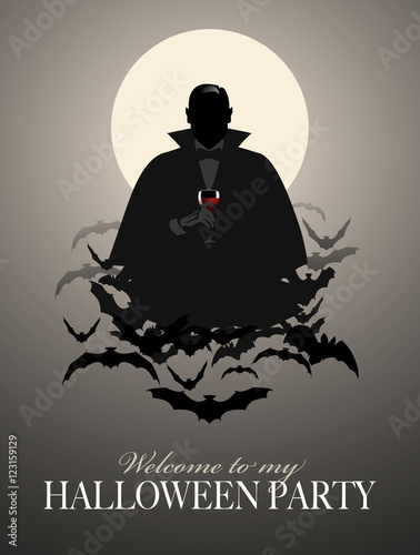 Fotografie, Obraz  Elegant Vampire silhouette on a cloud of bats holding a glass of wine (or blood)