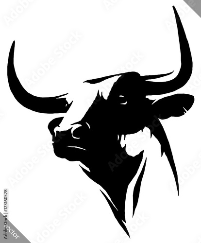 black and white linear paint draw bull vector illustration Wall mural