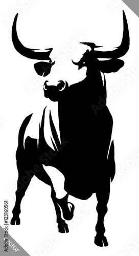 Photo black and white linear paint draw bull vector illustration
