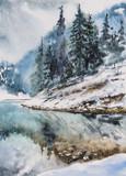Zima krajobraz z halnym jeziorem i drzewami na wzgórzu odbijał w wodzie. Obraz tworzący z akwarelami. - 123163917