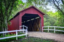 Autumn Morning At The Sandy Creek Covered Bridge State Historic Site In Goldman, Missouri