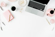 canvas print picture - Flat lay fashion feminine home office workspace. Laptop, pink teapot, golden pen and clips. Top view