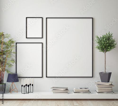makiety plakat rama w pokoju hipster, skandynawskim stylu tło wnetrze, renderowania 3D, ilustracji 3D