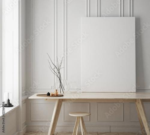 makieta rama plakatowa w pokoju hipster, skandynawskie tło wnętrza, renderowania 3D, ilustracja 3D