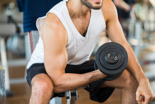 Photo  Bodybuilder working out
