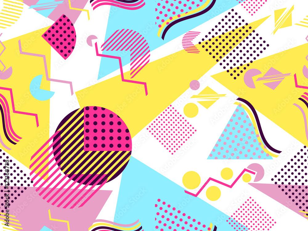 Fototapeta Memphis seamless pattern. Geometric elements memphis in the style of 80's. Vector illustration.