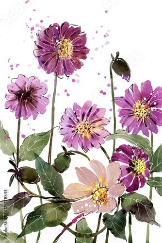 Akwarela malarstwa bukiety Kwiat Dahlia purpurowy na białym tle. Przestrzeń położyć tekst