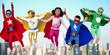 Leinwanddruck Bild - Superheroes Kids Friends Playing Togetherness Fun Concept