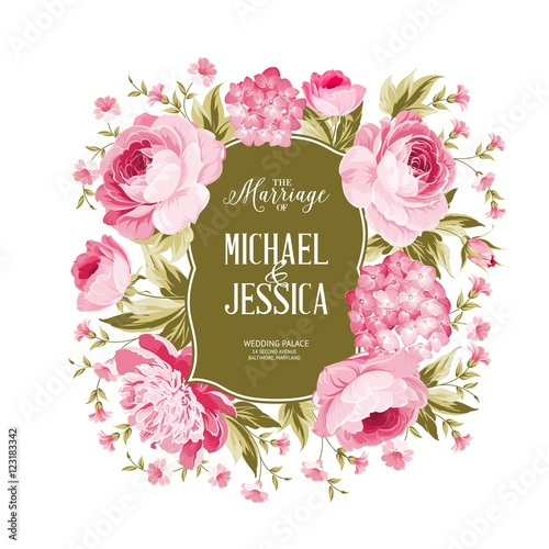 Wedding card with blooming flowers isolated over white background wedding card with blooming flowers isolated over white background border of rose flowers in vintage stopboris Image collections