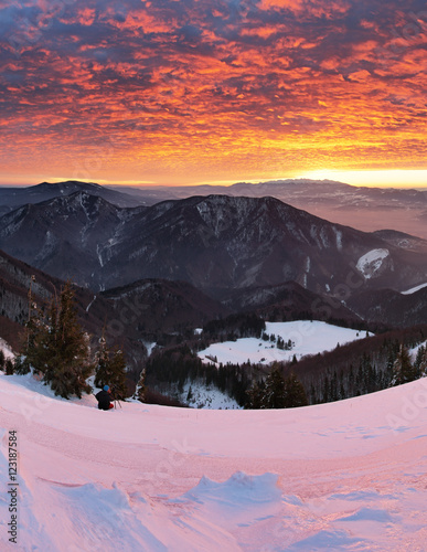 Poster Lichtroze Sunrise in mountain - Slovakia Fatra
